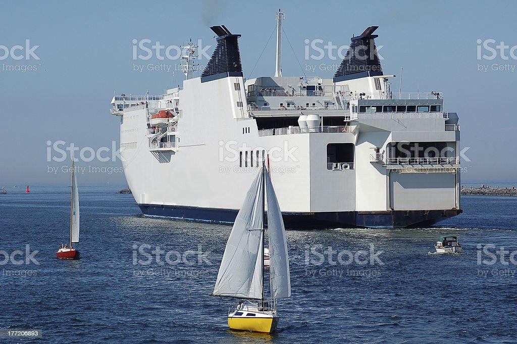 Passenger Ship and sailboats royalty-free stock photo