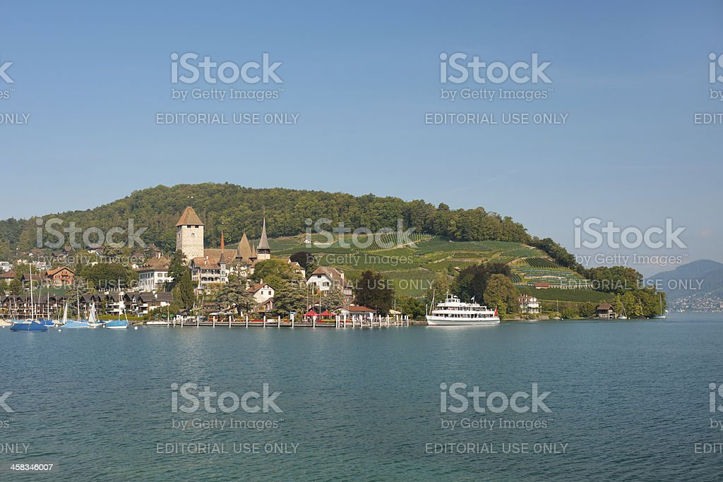 Passenger ship at the harbor of Spiez. royalty-free stock photo