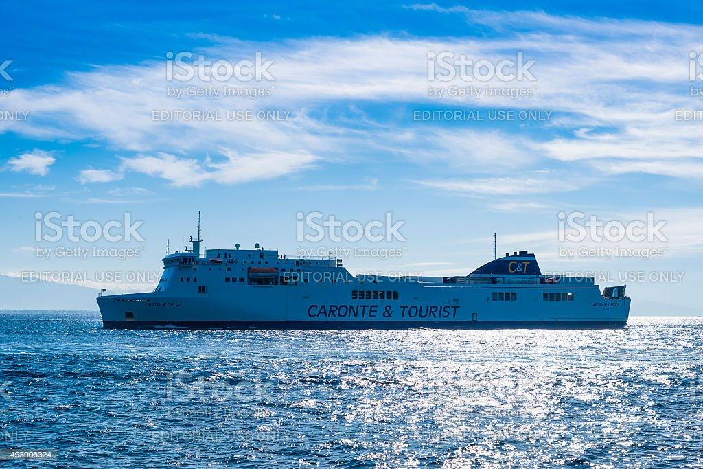 Passenger ship 'Cartour Delta' prepare to enter  the port stock photo