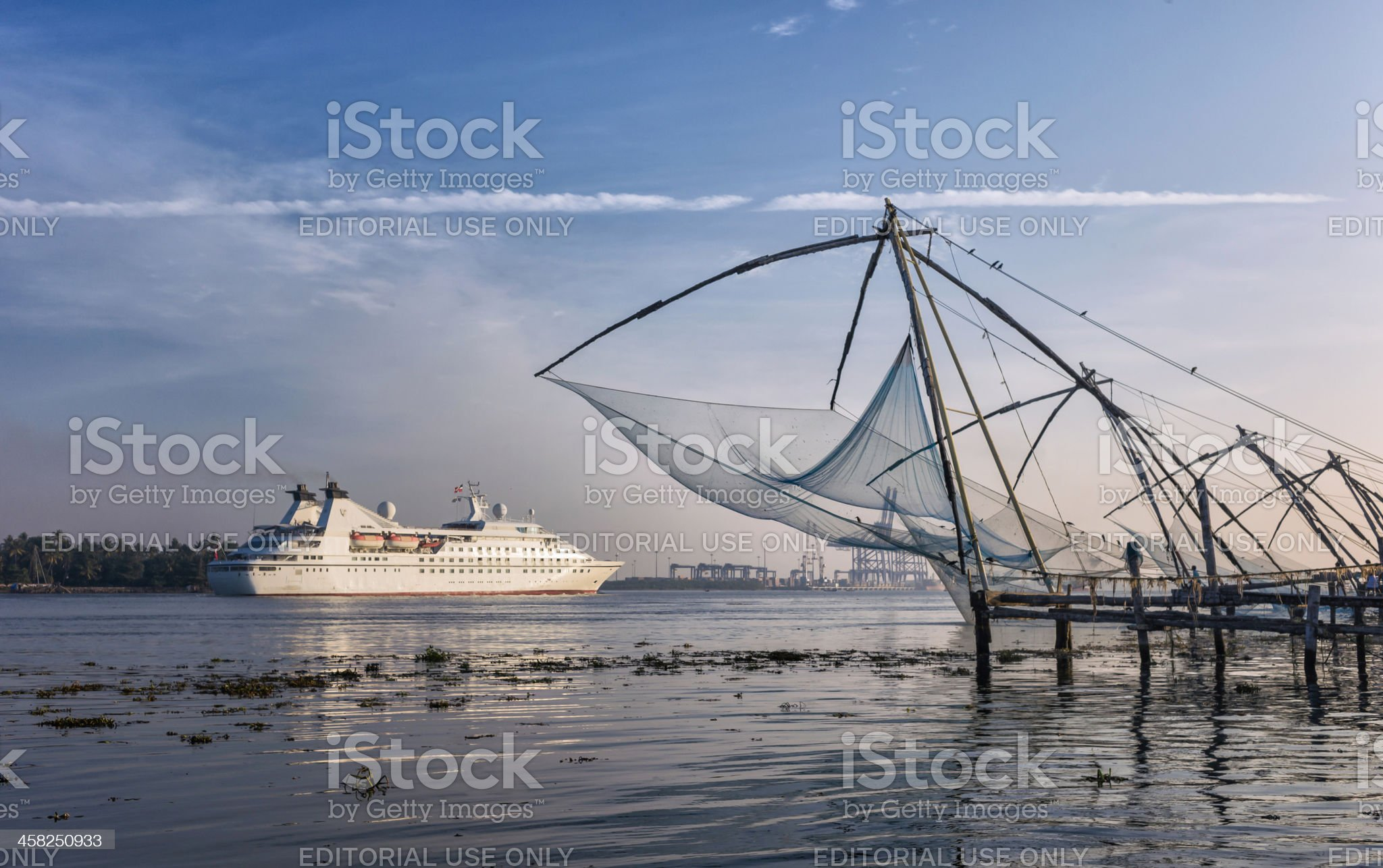 Passenger ship & Chinese fishing nets, Cochin, Kerala, India. royalty-free stock photo