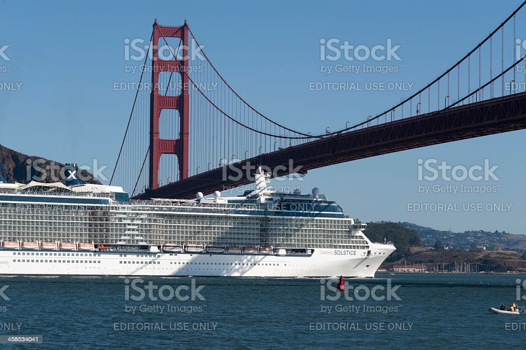 Passenger ship entering Golden gate royalty-free stock photo