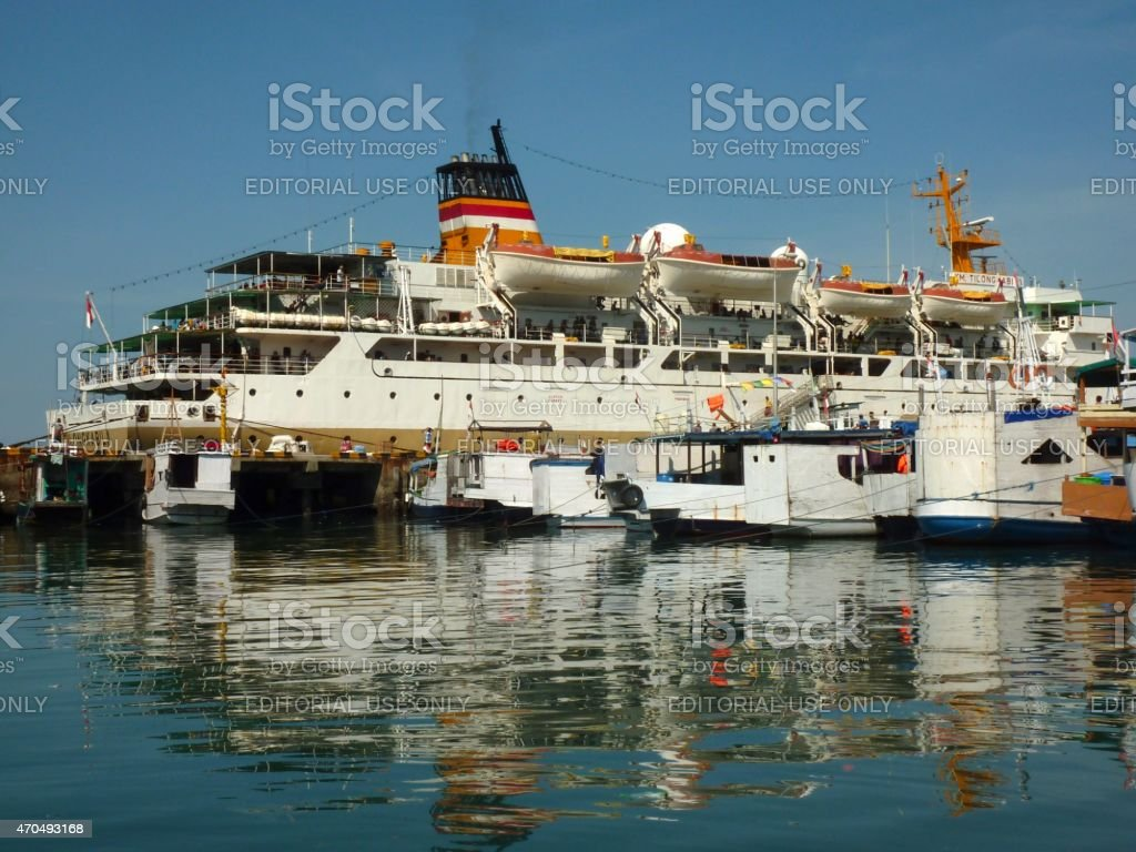 Passenger ship moored at Labuanbajo Harbour, Flores Indonesia stock photo