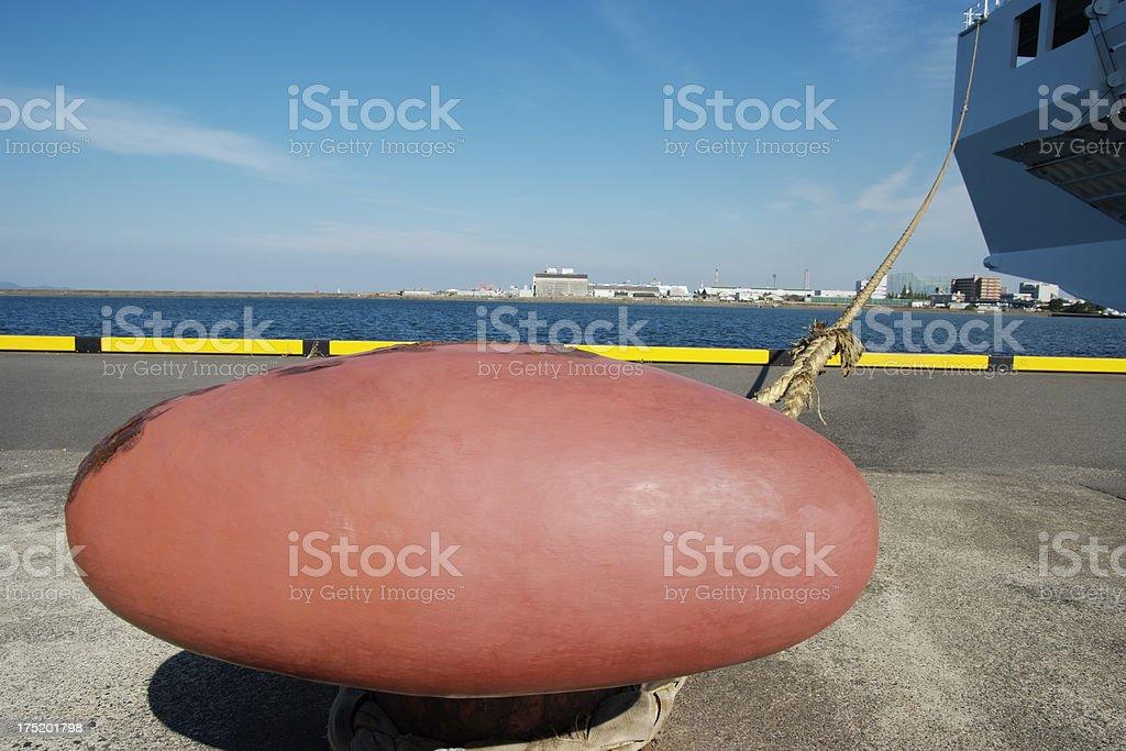 Passenger ship moored in harbor royalty-free stock photo
