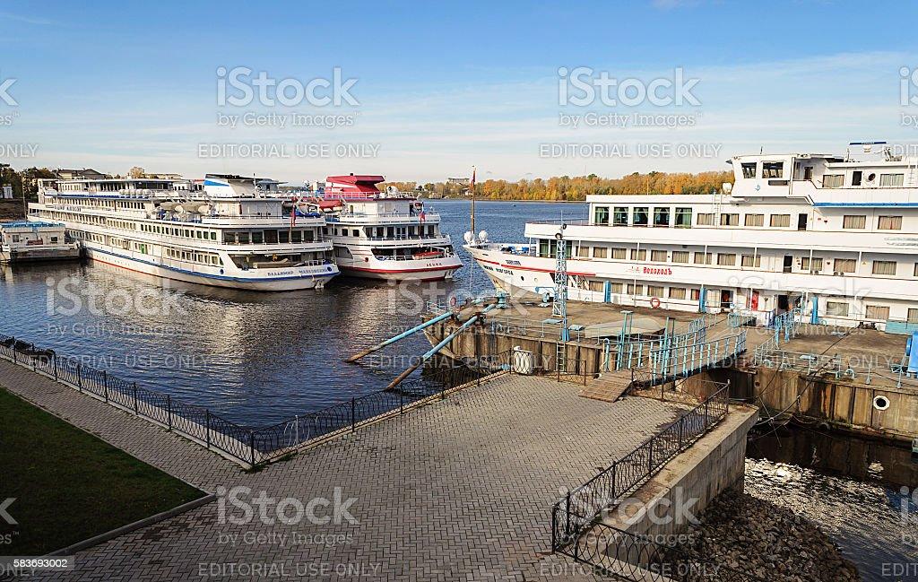 Passenger ships at the berth of Uglich, Volga river stock photo