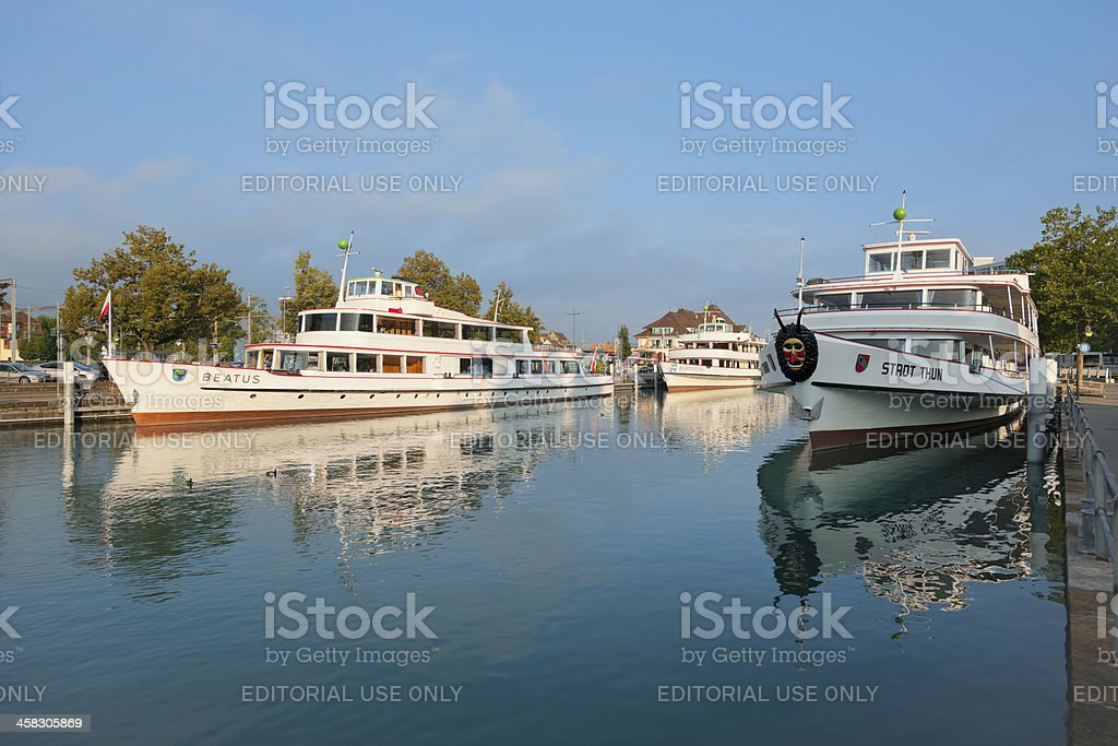 Passenger ships at the pier in Thun royalty-free stock photo