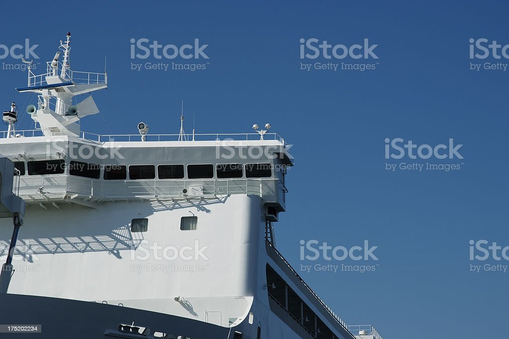 Passenger ship's bow and bridge with copy space stock photo