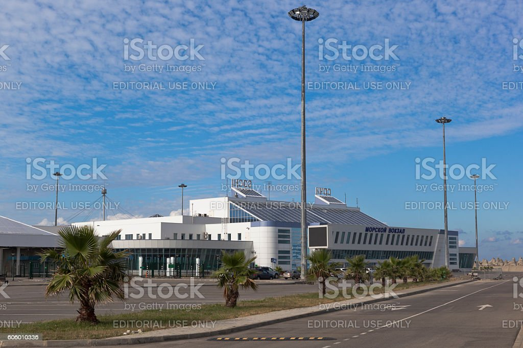 Passenger terminal of a new marine station in Sochi stock photo