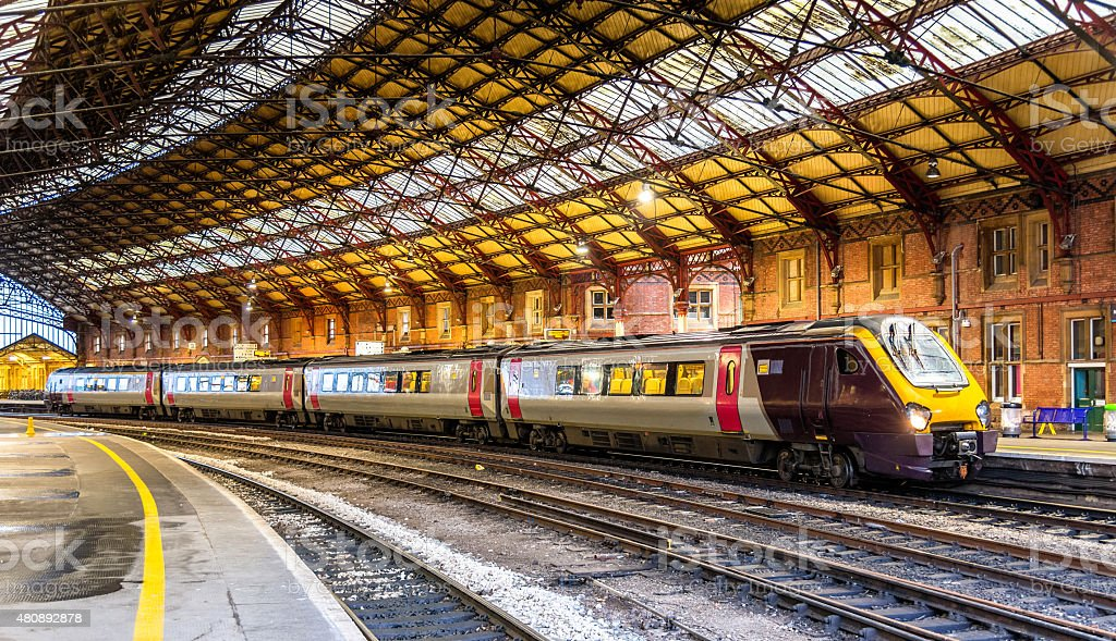 Passenger train at Bristol Temple Meads Railway Station, England stock photo