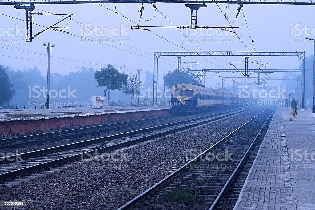 Passenger Train At Station stock photo