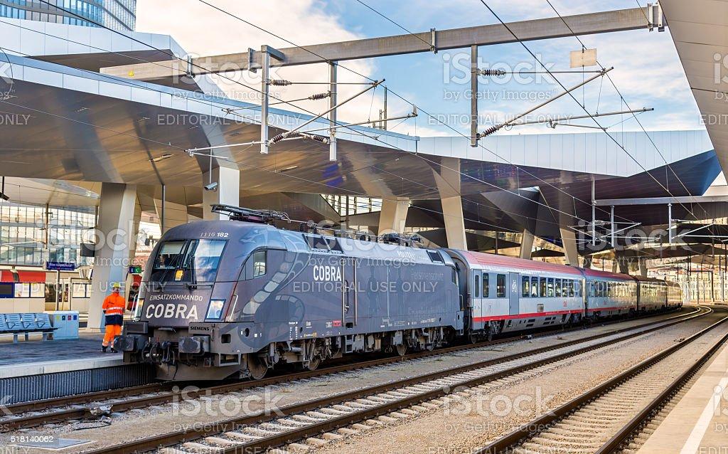 Passenger train at Wien Hauptbahnhof station stock photo