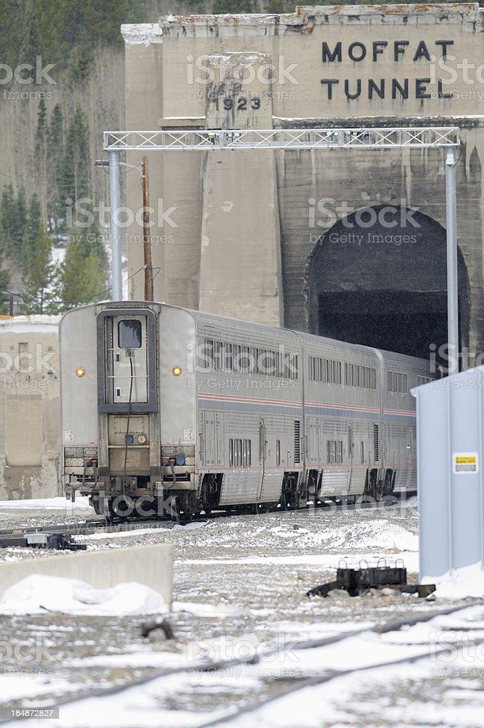 Passenger train entering Moffat Tunnel stock photo