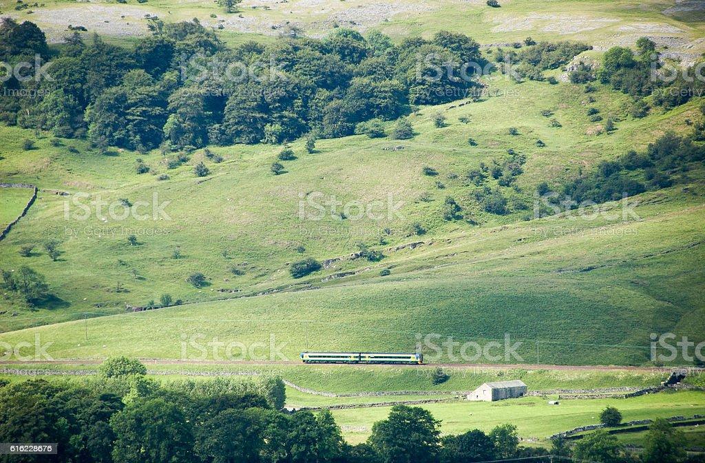 Passenger train in Ribblesdale stock photo