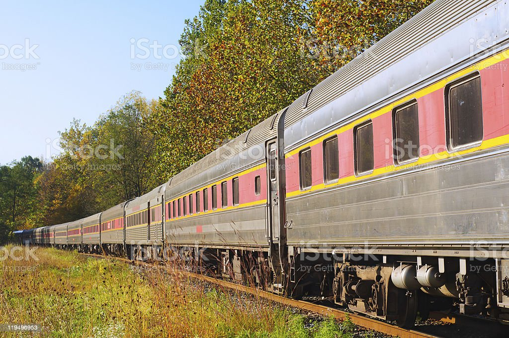 Passenger train on curve stock photo