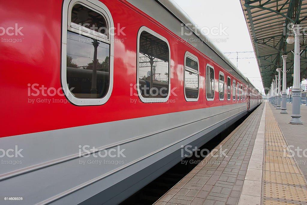 Passenger train on the platform stock photo