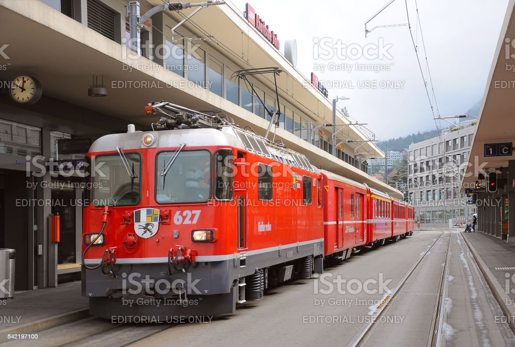 Passenger train to Arosa. stock photo