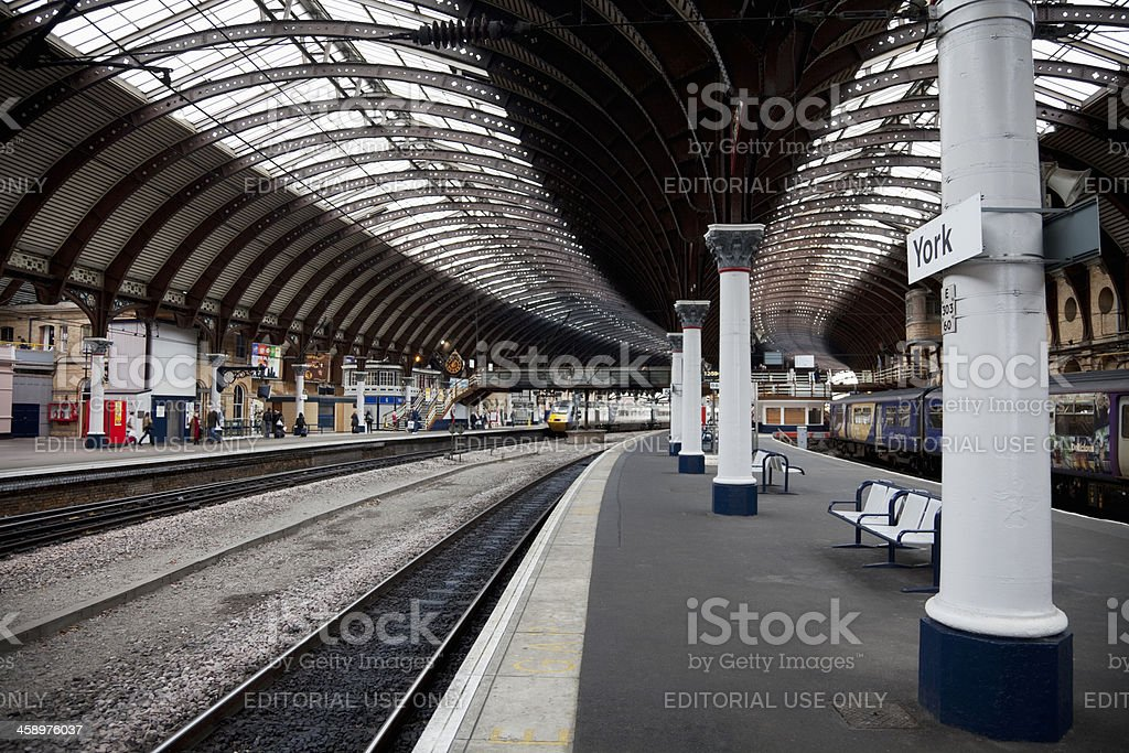 Passenger trains, curved platforms royalty-free stock photo