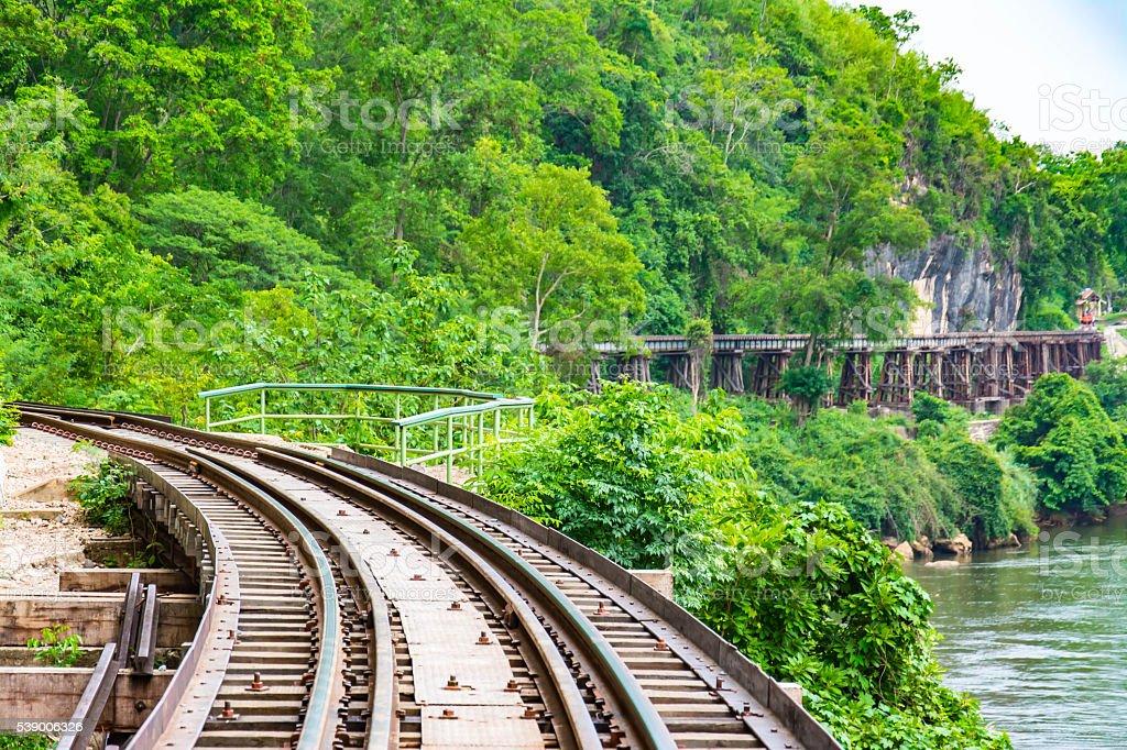 Passenger trains Tham Kasae bridge stock photo