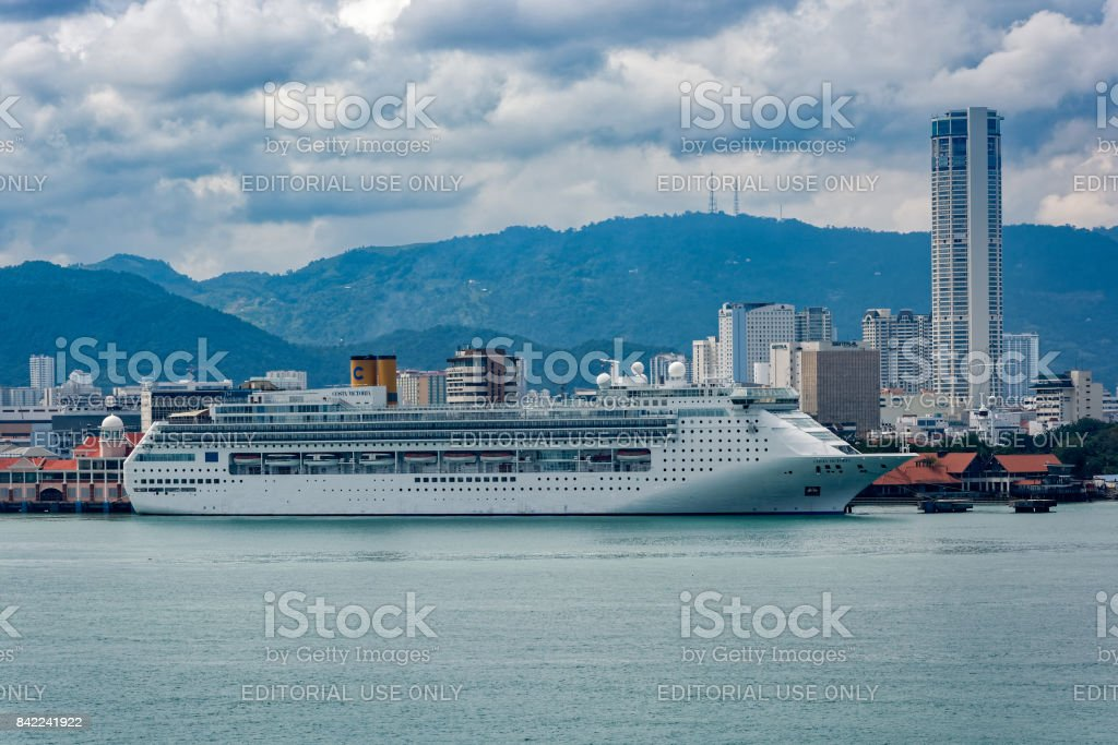 Passenger vessel COSTA VICTORIA owned and operated by Costa Crociere in Georgetown harbor. stock photo