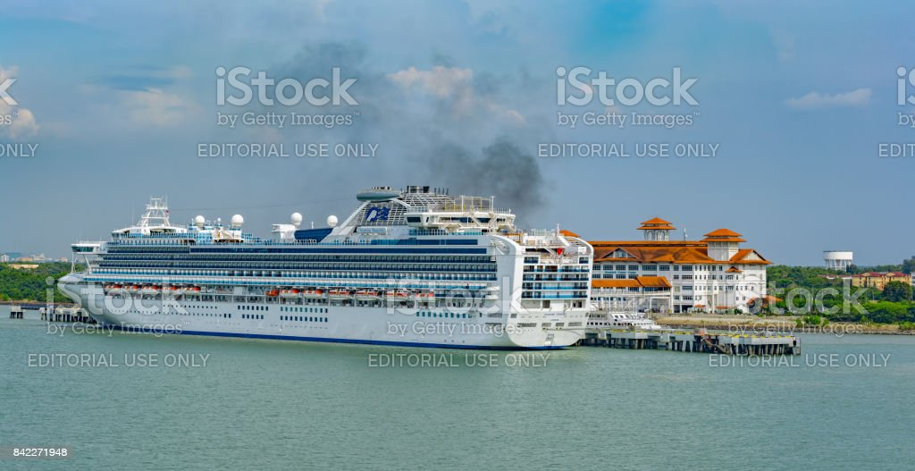 Passenger vessel DIAMOND PRINCESS owned and operated by Princess Cruises in Klang port, Malaysia. stock photo