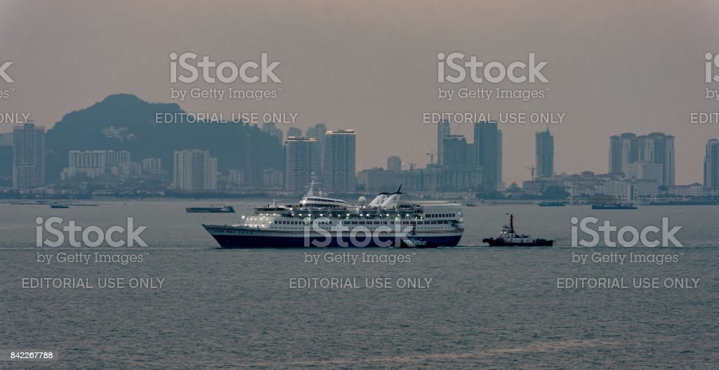 Passenger vessel LEISURE WORLD in Georgetown harbor in service for New Century Tours Corp. stock photo