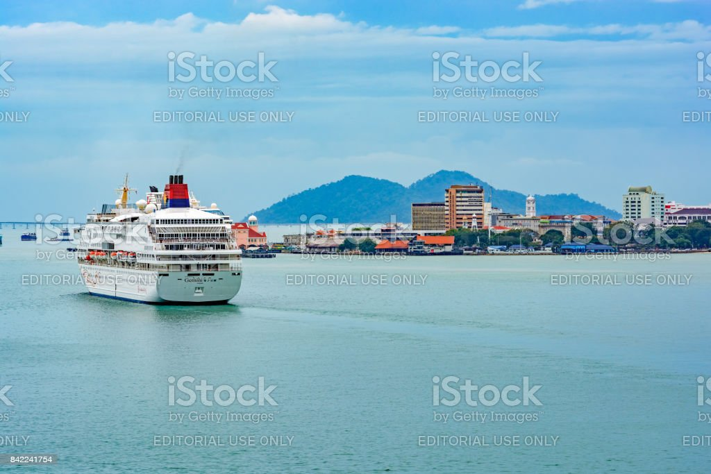 Passenger vessel SUPERSTAR GEMINI in Georgetown harbor in service for  Star Cruises. stock photo