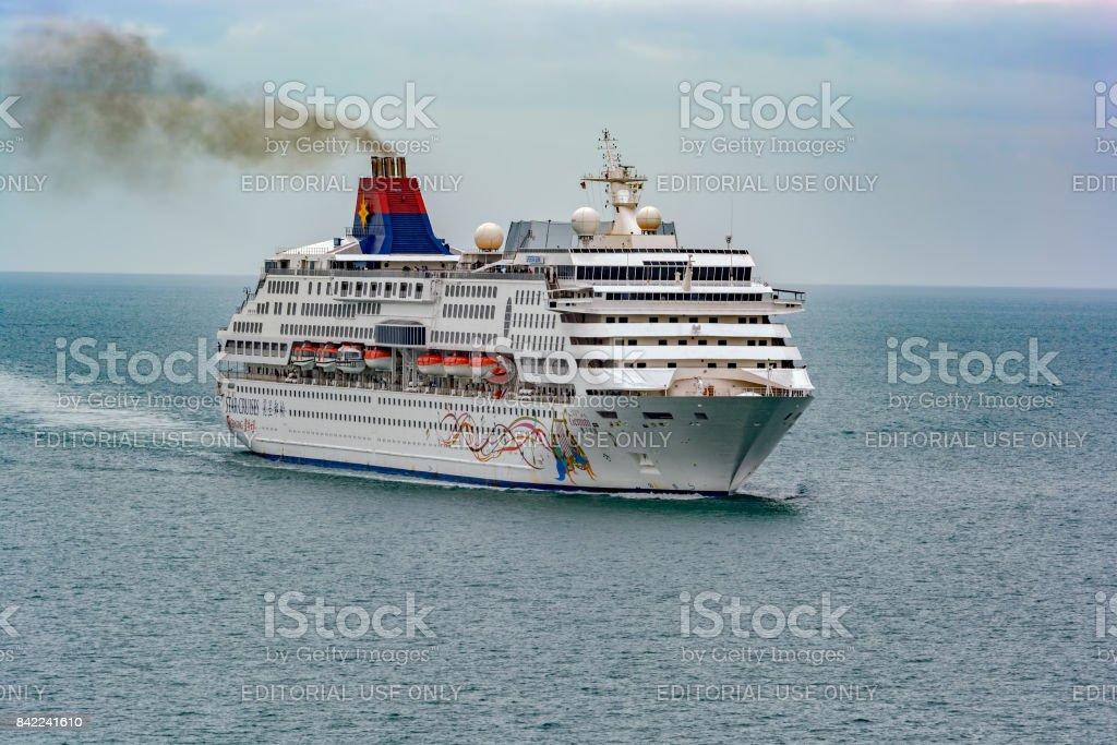 Passenger vessel SUPERSTAR GEMINI in Malacca Strait near George Town. stock photo