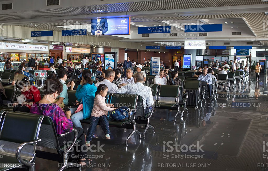 Passenger waiting for being called on board stock photo