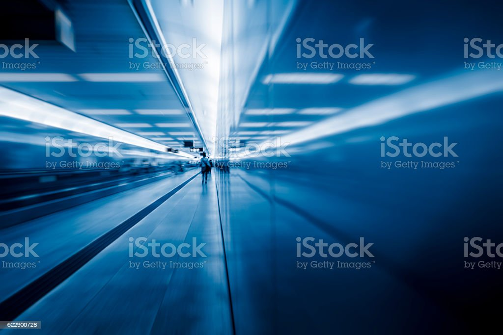 passenger walk at subway station,motion blurred stock photo