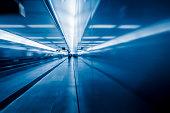 passenger walk at subway station,motion blurred