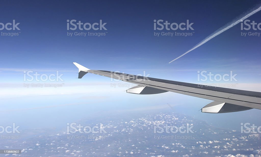 Passenger Window View In Flight royalty-free stock photo