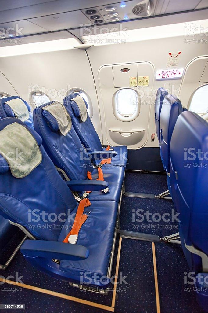 Passengers airplane interior stock photo