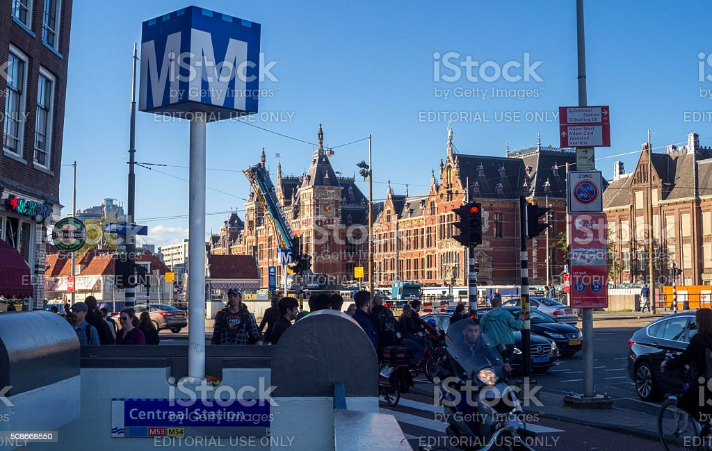 Passengers and Subway Station near Amsterdam Centraal Railway Station stock photo