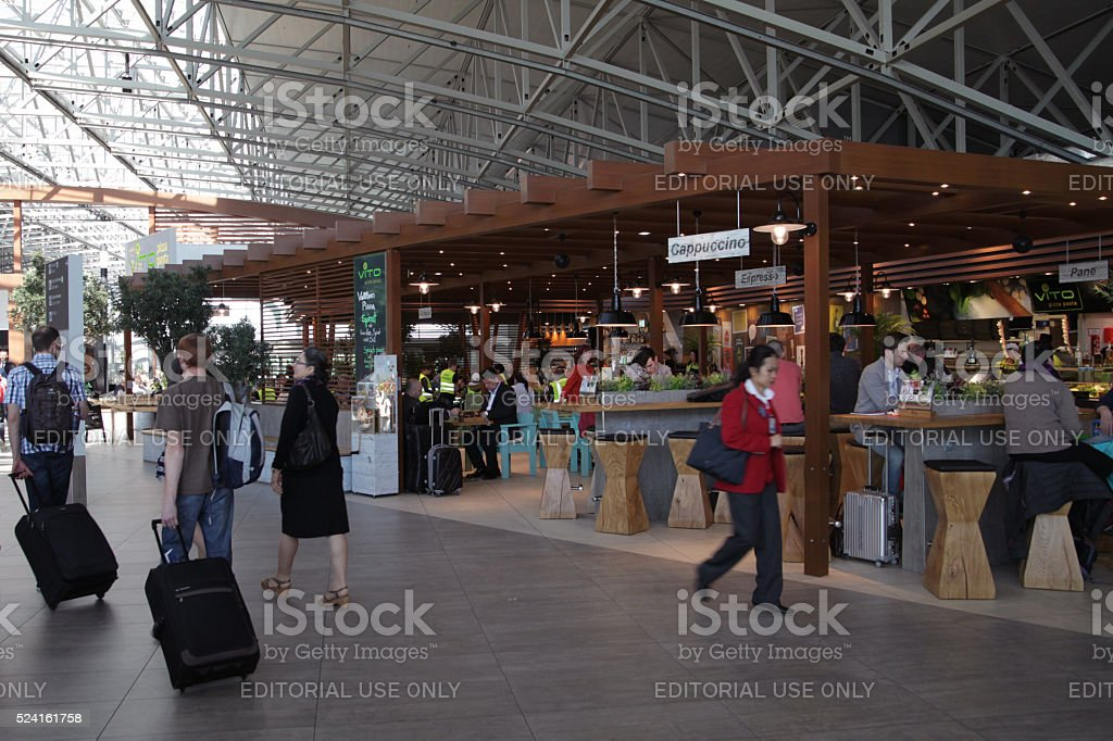 Passengers and visitors in restaurant at Frankfurt Airport stock photo