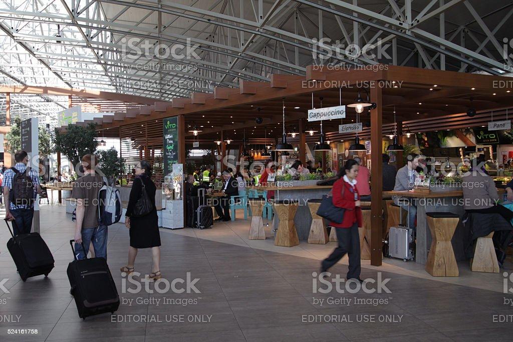 Passengers and visitors in restaurant at Frankfurt Airport stock photo