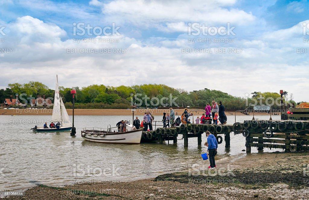 Passengers arriving at Felixstowe Ferry stock photo