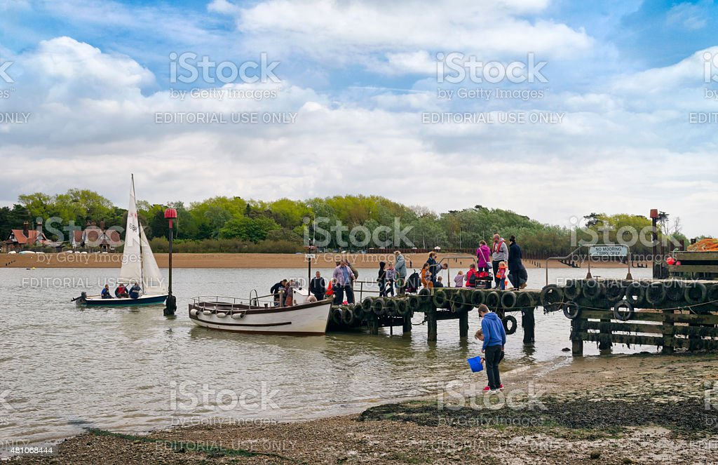 Passengers arriving at Felixstowe Ferry stock photo