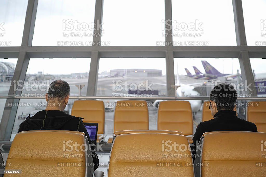 Passengers at a boarding gate. royalty-free stock photo