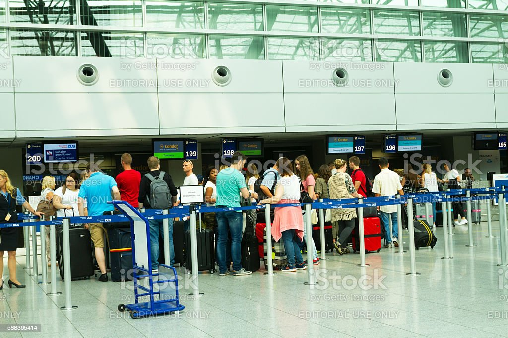 Passengers at Condor desks and check-ins stock photo