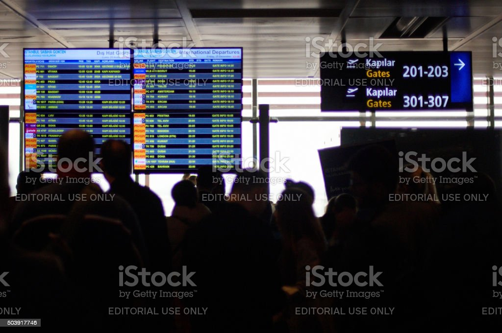 Passengers at Istanbul International Airport stock photo