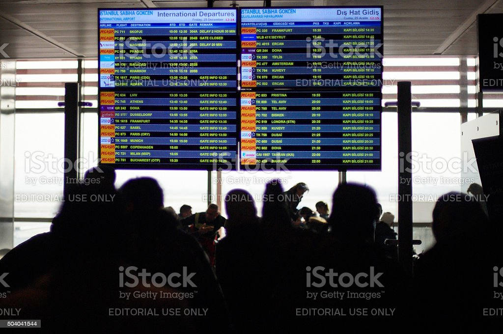 Passengers at Istanbul International Airport stock photo