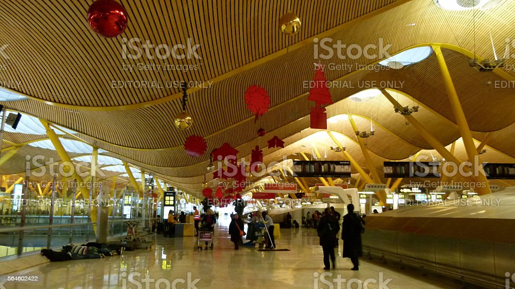 Passengers at Madrid Barajas stock photo