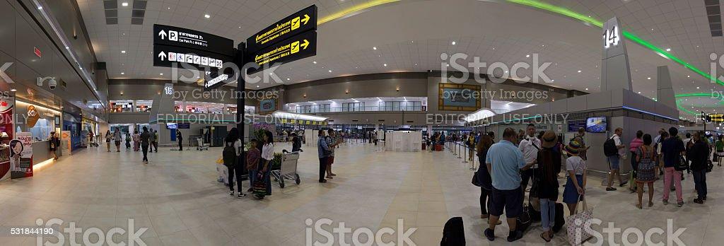 Passengers at Main Hall after baggage claim at Don Mueang stock photo