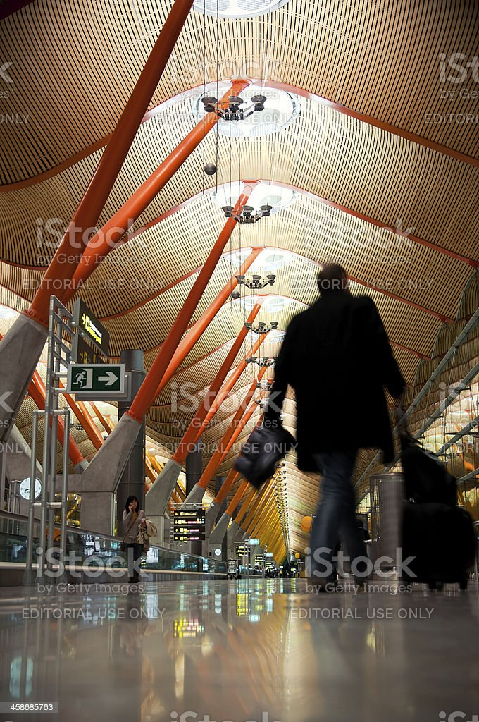 Passengers at T4 Madrid Barajas airport stock photo