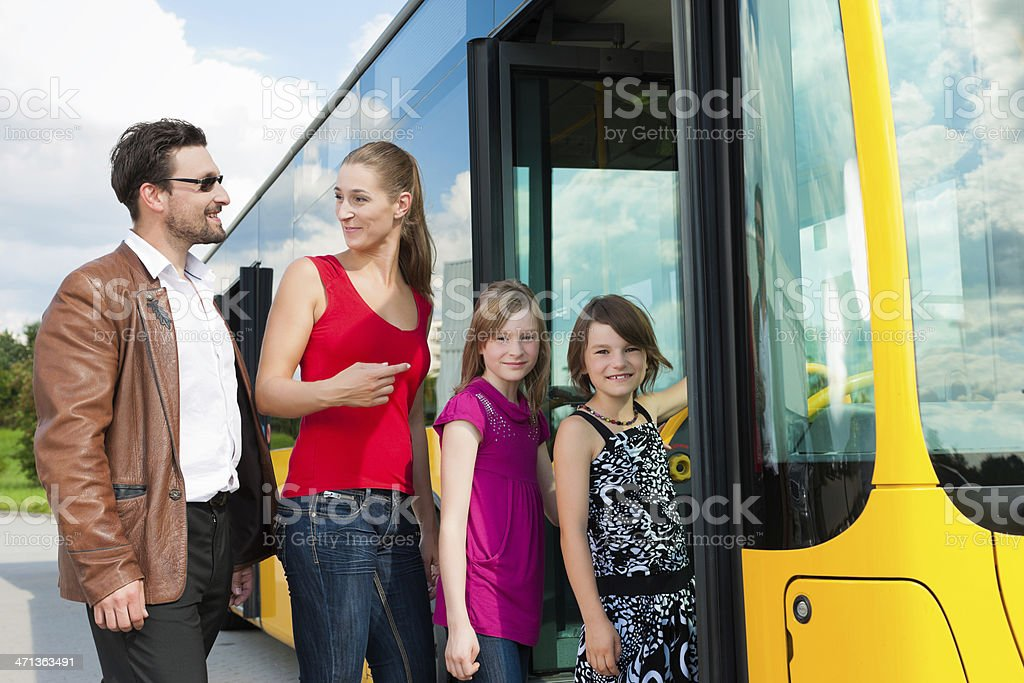 Passengers boarding a bus royalty-free stock photo
