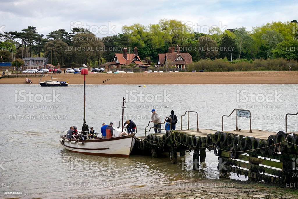 Passengers boarding Felixstowe Ferry stock photo