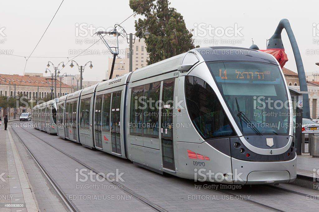 Passengers boarding Jerusalem's Light Rail tram stock photo