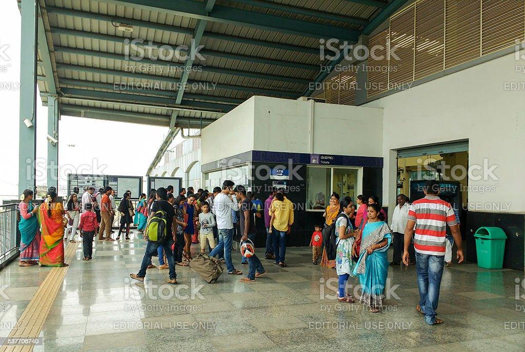 Passengers buy tickets for Bangalore Metro rail, India stock photo