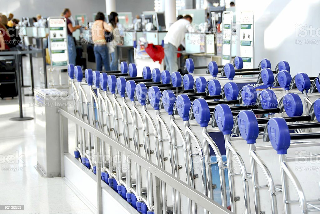 Passengers carts airport stock photo