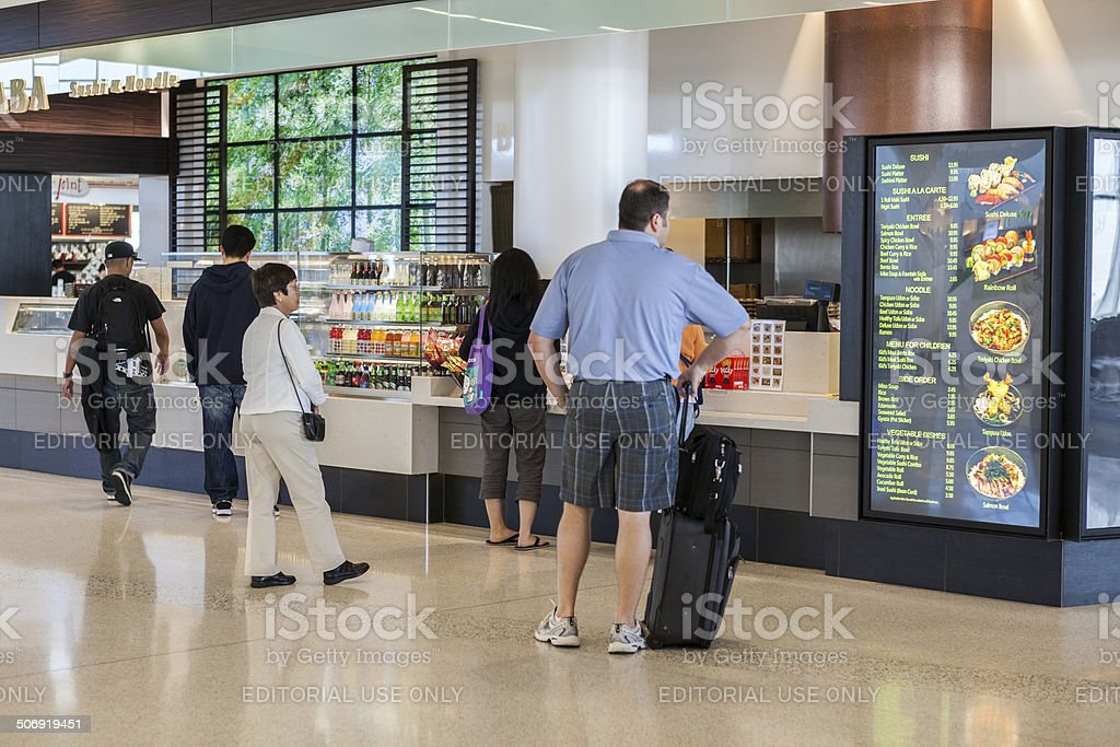 Passengers Decide What to Eat at the San Francisco Airport stock photo