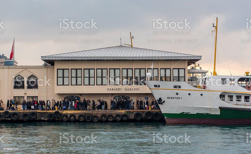 Passengers disembarking vapur - passenger ferry stock photo